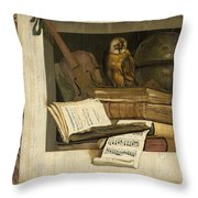 Still Life With Books Sheet Music Violin Celestial Globe And An Owl Throw Pillow