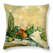 Still Life With Bottle Of Liqueur Throw Pillow by Paul Cezanne