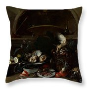 Still Life With Bottles And Oysters Throw Pillow