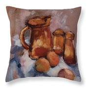 Still Life With Brown Pitcher Throw Pillow