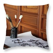 Still Life With Brushes Throw Pillow