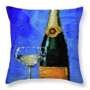 Still Life With Champagne Bottle And Glass Throw Pillow