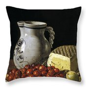 Still Life With Cherries  Cheese And Greengages Throw Pillow