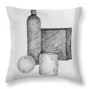 Still Life With Cup Bottle And Shapes Throw Pillow