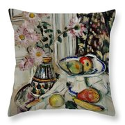 Still Life With Daisies And Fruit Throw Pillow