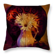 Still Life With Daisies And Grapes - Oil Painting Edition Throw Pillow