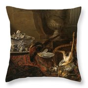 Still Life With Dead Game And A Silver Tureen On A Turkish Carpet Throw Pillow