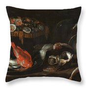 Still Life With Fish And Oysters  Throw Pillow