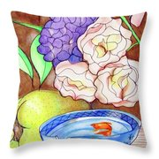 Still Life With Fish Throw Pillow by Loretta Nash