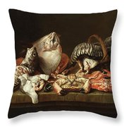 Still Life With Fishes, A Crab And Oysters Throw Pillow
