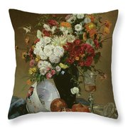 Still Life With Flowers And Pomegranates Throw Pillow