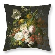 Still Life With Flowers In A Glass Vase Throw Pillow