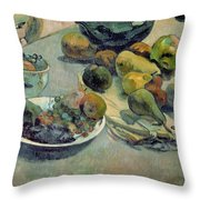 Still Life With Fruit Throw Pillow by Paul Gauguin