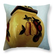 Still Life With Fruited Pottery Throw Pillow