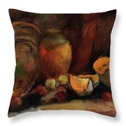 Still Life With Fruits And Pumpkin Throw Pillow