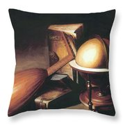 Still Life With Globe Lute And Books Throw Pillow