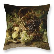 Still-life With Grapes And Pears Throw Pillow