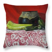 Still Life With Green Peppers Throw Pillow