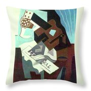 Still Life With Guitar, Book And Newspaper   Throw Pillow