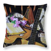 Still Life With Guitar Throw Pillow