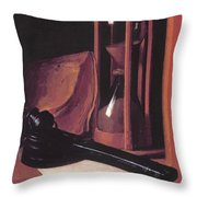 Still Life With Hourglass Pencase And Print Throw Pillow