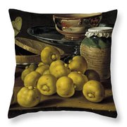 Still Life With Lemons And A Pot Of Honey Throw Pillow