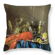 Still Life With Lobster 1655 Throw Pillow