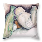 Still Life With Mask Throw Pillow