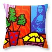 Still Life With Matisse And Mona Lisa Throw Pillow