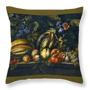 Still Life With Melons Apples Cherries Figs And Grapes On A Stone Ledge Throw Pillow