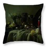Still Life With Metal Dishes, Fruits And Fresh Flowers Throw Pillow