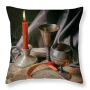 Still Life With Old Book And Metal Dishes Throw Pillow