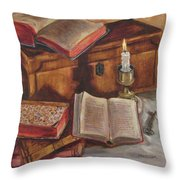 Still Life With Old Books Throw Pillow