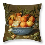 Still Life With Oranges And Lemons In A Wan-li Porcelain Dish  Throw Pillow