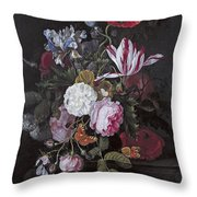 Still Life With Peonies Roses Irises Poppies And A Tulip With Butterflies A Dragonfly And Other Inse Throw Pillow