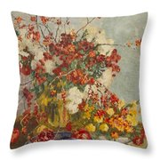 Still Life With Pink Flowers Throw Pillow