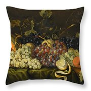 Still Life With Red Black And Green Grapes Throw Pillow