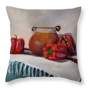 Still Life With Red Peppers Throw Pillow