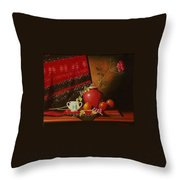 Still Life With Red Vase. Throw Pillow