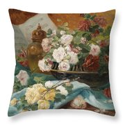 Still Life With Roses In A Cup Ornamental Object And Score Throw Pillow