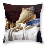 Still Life With Shells Throw Pillow
