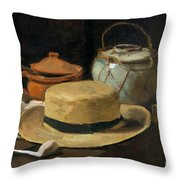 Still Life With Straw Hat, By Vincent Van Gogh, 1881, Kroller-mu Throw Pillow