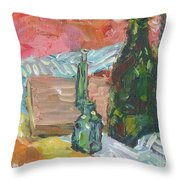 Still Life With Three Bottles Throw Pillow