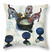Still Life With Three Puppies Throw Pillow
