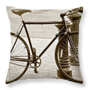 Still Life With Trek Bike In Sepia Throw Pillow