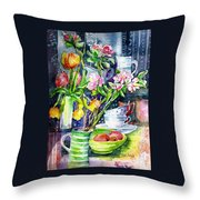 Still Life With Tulips And Apple Blossoms  Throw Pillow