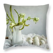 Still Life With Tulips And Eggs Throw Pillow