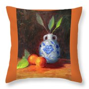 Still Life With Vase And Fruit Throw Pillow