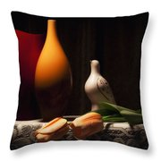 Still Life With Vases And Tulips Throw Pillow