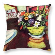 Still Life With Venison And Ostrich Pillow By August Macke Throw Pillow